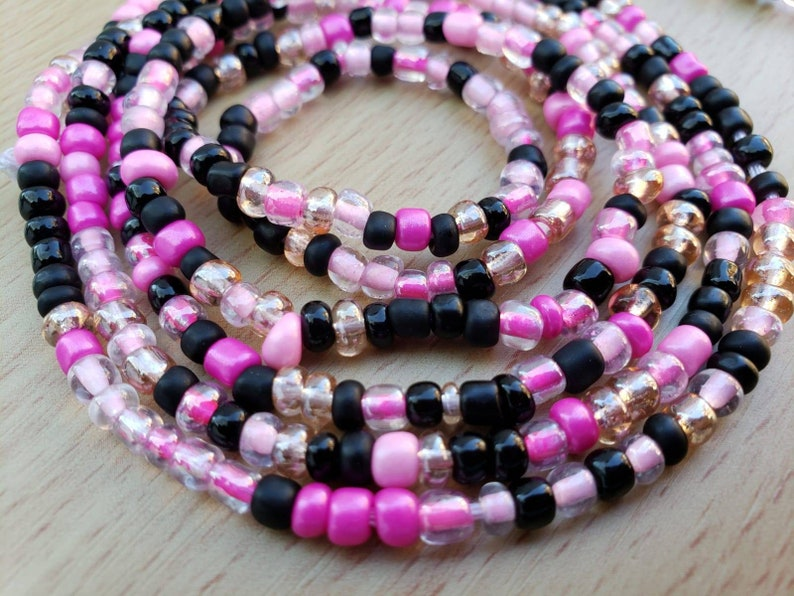 Waist Beads Pink Black Belly Beads
