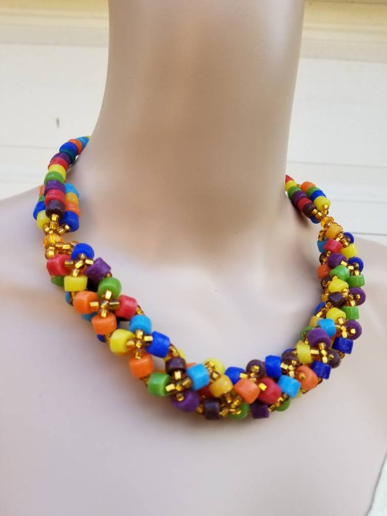 Multicolored African Powered glass Necklace