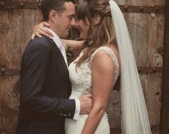 "Wedding Veil, 118"" Cut Edge - Single Layer Soft Tulle Veil, 118 inches, 300 cm - Ivory Veil, Cathedral Length Veil"