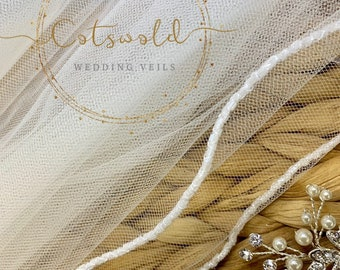 "Wedding Veil, 28"" Beaded Edge, Single Layer Soft Tulle Wedding Veil, 28 inches, 70 cm - Ivory Veil, Waist Length"