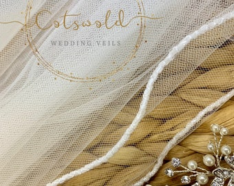 Wedding Veil, Beaded Edge, Single Layer Soft Tulle Veil, 32 inches, 82 cm - Ivory Veil, Waist Length