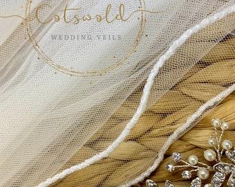 """Wedding Veil, 32"""" Glass Beaded Edge, Single Layer Soft Tulle Veil, 32 inches, 82 cm, Ivory Veil, Waist Length Veil"""
