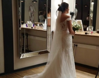 """118"""" Satin Edge, Single Layer Soft Tulle Wedding Veil, 118 inches, 300cm, Ivory Veil, Cathedral Length Wedding Veil, Satin Edge Wedding Veil"""