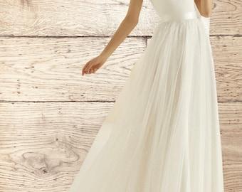 Beautiful Bridal Skirt, High Quality Glitter Tulle Wedding Dress Skirt, Satin Belt, Train, Ivory Skirt, UK Sizes 10 - 20