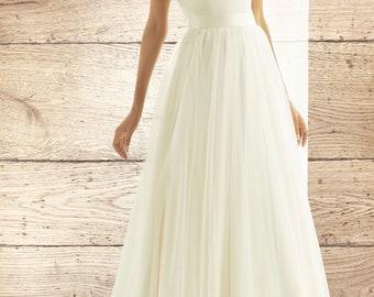 Beautiful Bridal Skirt, High Quality Glitter Tulle Wedding Dress Skirt, Satin Belt, Train, Ivory Skirt, UK Sizes 10 - 18, Bridal Outfit