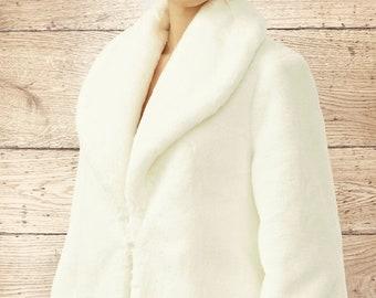 Stunning Faux Fur Jacket, Fur Bolero,  Wedding Shrug, Bridal Cover Up, Brides, Bridesmaid, Ivory Faux Fur Wedding Jacket