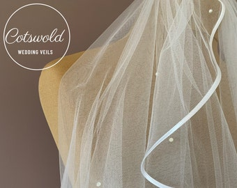 "28"" Pearl Wedding Veil, Satin Edge - Single Layer Soft Tulle Veil, Ivory or White Waist Length Wedding Veil"