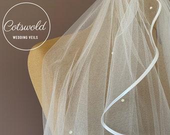 "28"" Pearl Wedding Veil, Satin Edge - Single Layer Soft Tulle Veil, Ivory or White Waist Length Wedding Veil"