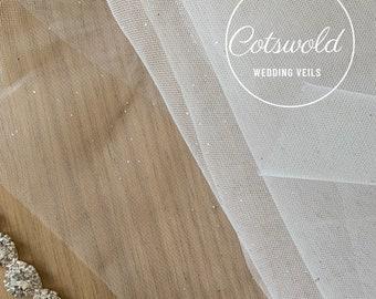 "87"" Glitter Tulle Wedding Veil, Cut Edge, Single Layer Glitter Tulle Veil, 87 inches, 200cm - Silver Veil, Chapel Length"