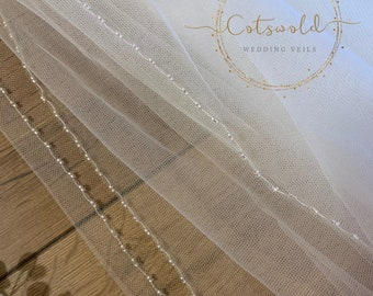 "87"" Beaded Edge - Single Layer Soft Tulle Wedding Veil, 87 inches, 220 cm - Ivory Veil, Floor Length"
