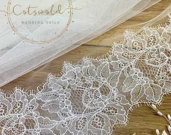 "118"" Wedding Veil, Beautiful French Lace Edge - 2 Tier Soft Tulle Veil, 118 inches, 300cm - Ivory Veil, Cathedral Length, Lace Veil"