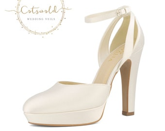 Beautiful Bridal Shoes, Ivory Satin Brides Shoes, Ankle Strap, Very High Heel, Classic & Elegant Platform Bridal Shoes