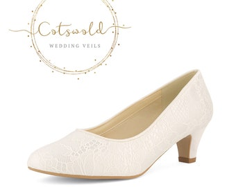 Beautiful Bridal Shoes, Classic Ivory Lace Court Shoes, Mid Heel, Simple & Elegant Bridal Shoes