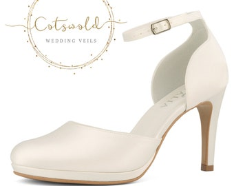 Beautiful Bridal Shoes, Ivory Satin Brides Shoes, Ankle Strap, High Heel, Classic & Elegant Platform Bridal Shoes