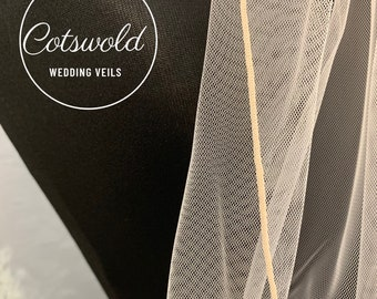 "Blush Pink Wedding Veil, 118"" Pencil Edge,  Single Layer Soft Blush Pink Tulle Veil, Cathedral Length"