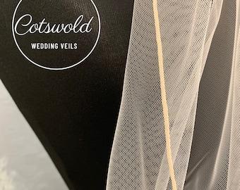 "Blush Pink Wedding Veil, 118"" Pencil Edge,  Single Layer Soft Blush Pink Tulle Veil, Cathedral Length"