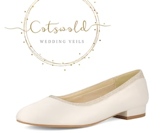 Beautiful Bridal Shoes, Classic Ivory Satin  Low Pumps Shoes, Low Heel, Slip on Pumps with Glitter Trim