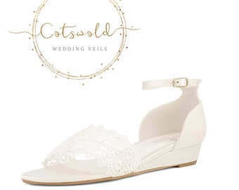 Beautiful Bridal Sandals, Ivory Satin & Lace Brides Wedge Shoes