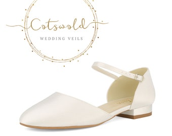 Beautiful Bridal Shoes, Classic Ivory Satin  Low Pumps Shoes, Low Heel, Flat Wedding Shoes