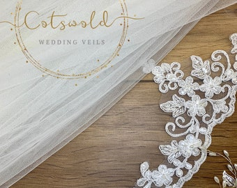 "Wedding Veil,  Lace Edge, Single Layer Diamond Tulle Veil, 67 inches, 170 cm, Ivory or white, Floor Length, 67"" Beaded Edge Lace Veil"