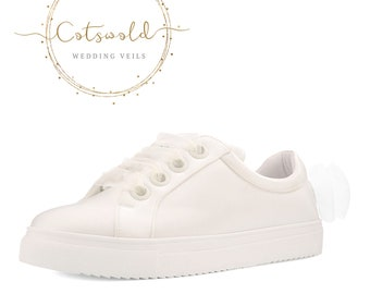 Beautiful Bridal Trainers, Classic Satin Sneakers Shoes, Bow Detail