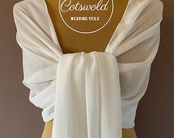 Beautiful Chiffon Scarf - Wedding Accessories, Bridal, White or Ivory