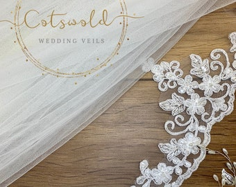 "Wedding Veil,  Lace Edge, Single Layer Diamond Soft Tulle Veil, 32 inches, 82 cm, Ivory or white, Waist Length, 32"" Beaded Top Edge Veil"