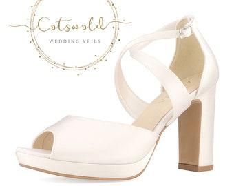 Beautiful Bridal Shoes, Ivory Satin Brides Shoes, Peep Toe, High Heel, Platform Bridal Shoes