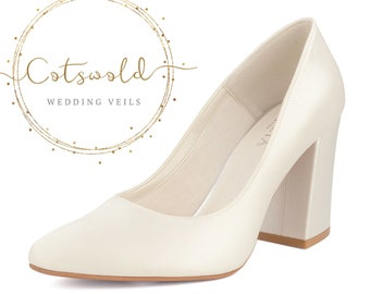 Beautiful Bridal Shoes, Ivory Satin Brides High Heel Shoes