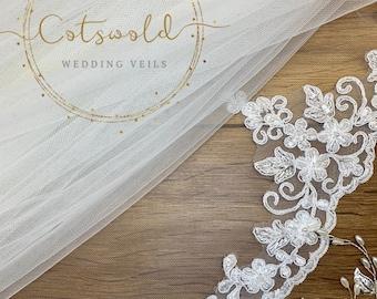 Lace Wedding Veil, Beautiful Beaded Lace Edge Veil, Bridal Veil, Various Lengths, White Wedding Veil, Single Layer Lace Veil