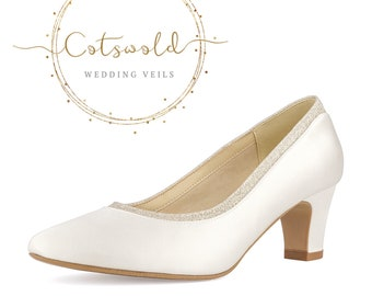 Beautiful Bridal Shoes, Classic Ivory Satin Court Shoes, Low Heel with Glitter Trim