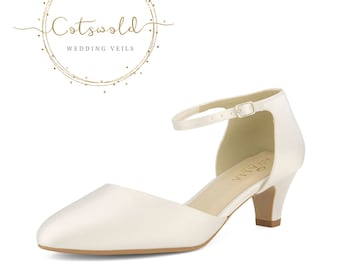 Beautiful Bridal Shoes, Ivory Satin Brides Shoes, Mid Heel , Ankle Strap Classic, Simple Bridal Shoes