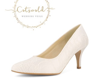 Beautiful Bridal Shoes, Classic Ivory Lace Court Shoes, Mid Heel