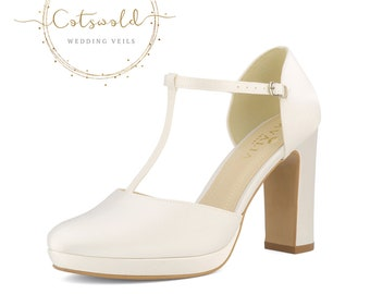 Beautiful Bridal Shoes, Ivory Satin Brides Shoes, T Bar, High Heel, Platform Bridal Shoes