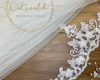 "Wedding Veil,  Beaded Lace Edge - 2 Tier Soft Tulle Veil,  87 inches, 220 cm, Ivory or White Veil, 87"" Floor Length, Beaded Lace Border"