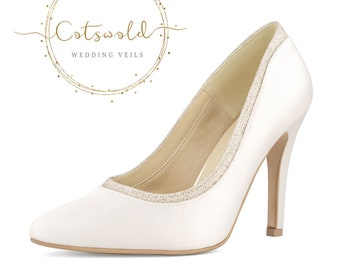 Beautiful Bridal Shoes, Classic Ivory Satin Court Shoes, High Heel with Glitter Trim
