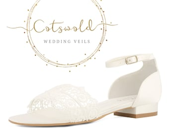 Beautiful Bridal Sandals, Ivory Satin & Lace Brides Shoes