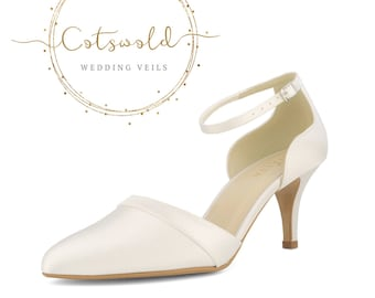 Beautiful Bridal Shoes, Ivory Satin Brides Shoes, Mid to High Heel , Ankle Strap Bridal Shoes