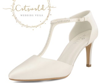 Crystal Embellished Bridal Shoes, Ivory Satin Brides Shoes, T Bar, High Heel