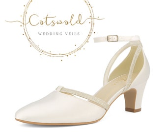Beautiful Bridal Shoes, Ivory Satin & Glitter Straps Brides Shoes, Mid Heel , Ankle Strap Bridal Shoes