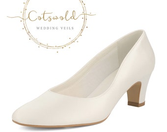 Beautiful Bridal Shoes, Classic Ivory Satin Court Shoes, Mid Heel, Simple & Elegant Bridal Shoes