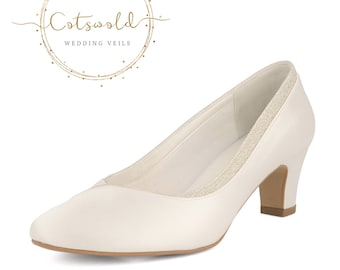Beautiful Bridal Shoes, Classic Ivory Satin Court Shoes, Mid Heel with Glitter Trim