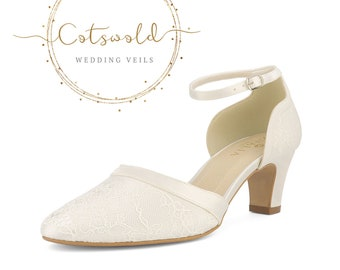 Beautiful Bridal Shoes, Ivory Satin & Lace Brides Shoes, Mid Heel , Ankle Strap Bridal Shoes