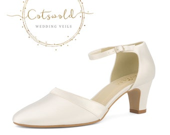 Beautiful Bridal Shoes, Ivory Satin Brides Shoes, Mid Heel , Ankle Strap Bridal Shoes