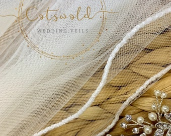 "79"" Glass Beaded Edge - Single Layer Soft Tulle Wedding Veil, 79 inches, 200 cm - Ivory Veil, Floor Length"