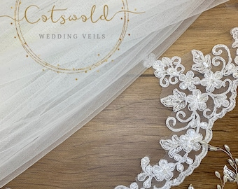 "98"" Bridal Wedding Veil,  Lace Edge - Single Layer Soft Tulle Veil,  98 inches, 250cm - Ivory Veil, Chapel Length"
