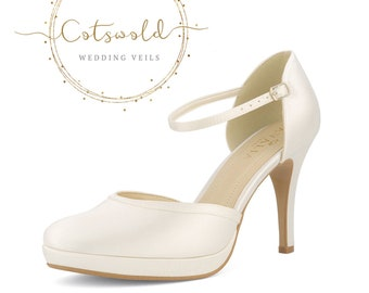 Beautiful Bridal Shoes, Ivory Satin Brides Shoes, Ankle Strap, High Heel, Platform Bridal Shoes
