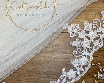 "43"" Bridal Wedding Veil,  Beaded Lace Edge - Single Layer Soft Tulle Wedding Veil with a Lace edge 43"", 110cm - Ivory Veil Fingertip"