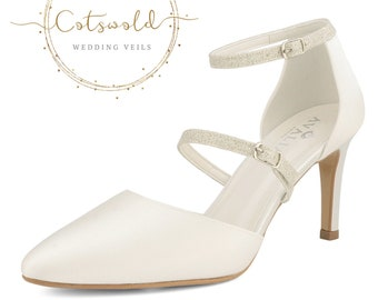 Beautiful Bridal Shoes, Ivory Satin Brides Shoes, Twin Glitter Strap, High Heel, Glitter Trim