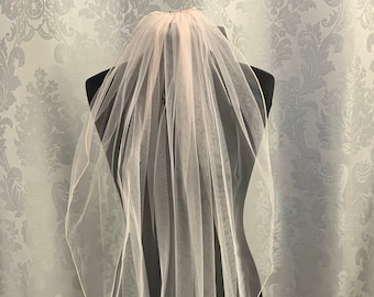 "Blush Pink Wedding Veil, 32"" Pencil Edge - Single Layer Soft Blush Pink Tulle Wedding Veil, Waist Length"